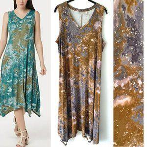 LOGO by Lori Goldstein Handkerchief Hem Maxi Dress